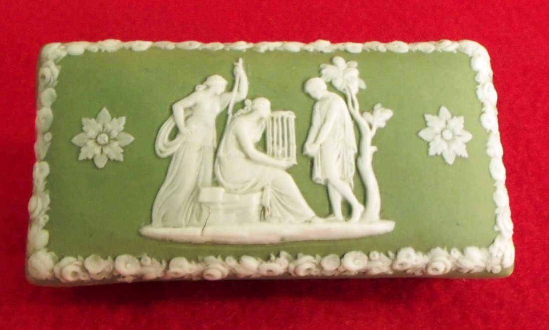 Porcelain Wedgwood Green Jasper Dip Lidded Trinket Box