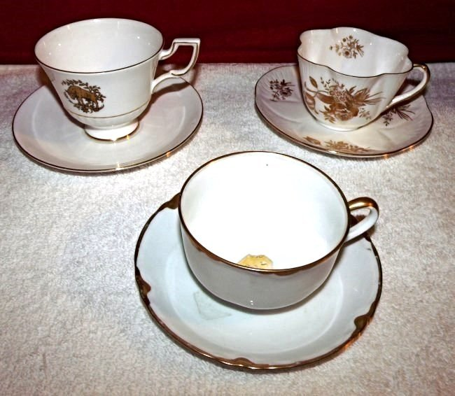 3) Vintage Bone China Teacup & Saucer Set Gold Trim