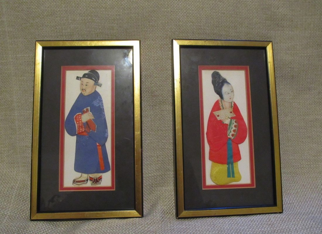 Pair of Chinese Silk and Rice Paper Art