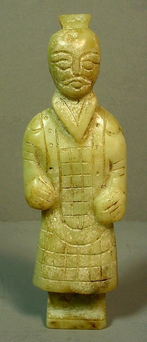 Chinese Celadon Green Qin Dynasty Civil Official Figure