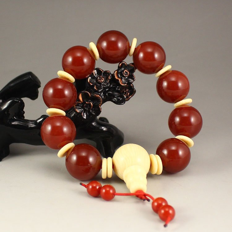 Chinese Red Agate Beads Bracelet