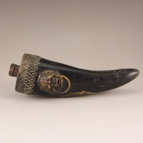 Vintage Chinese Ox Horn Snuff Bottle