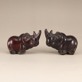 A Pair Chinese Ox Horn Rhinoceros Statue