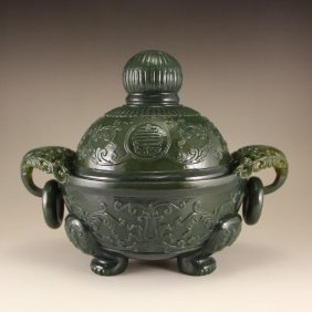 Chinese Hetian Jade Double Rings 3 Legs Incense Burner