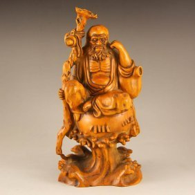 Vintage Chinese Boxwood Wood Statue - Dharma