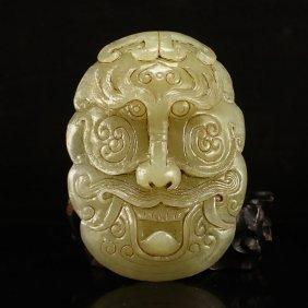 Vintage Chinese Hetian Jade Fortune Beast Belt Buckle