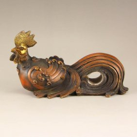 Vintage Chinese Bronze Statue - Rooster
