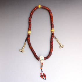 Chinese Tibet Buddhist Kapala Bone Bead Prayer Necklace
