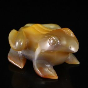 Chinese Natural Agate Frog Snuff Bottle