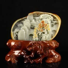 Superb Chinese Hetian Jade Statue - Sages & Mountain