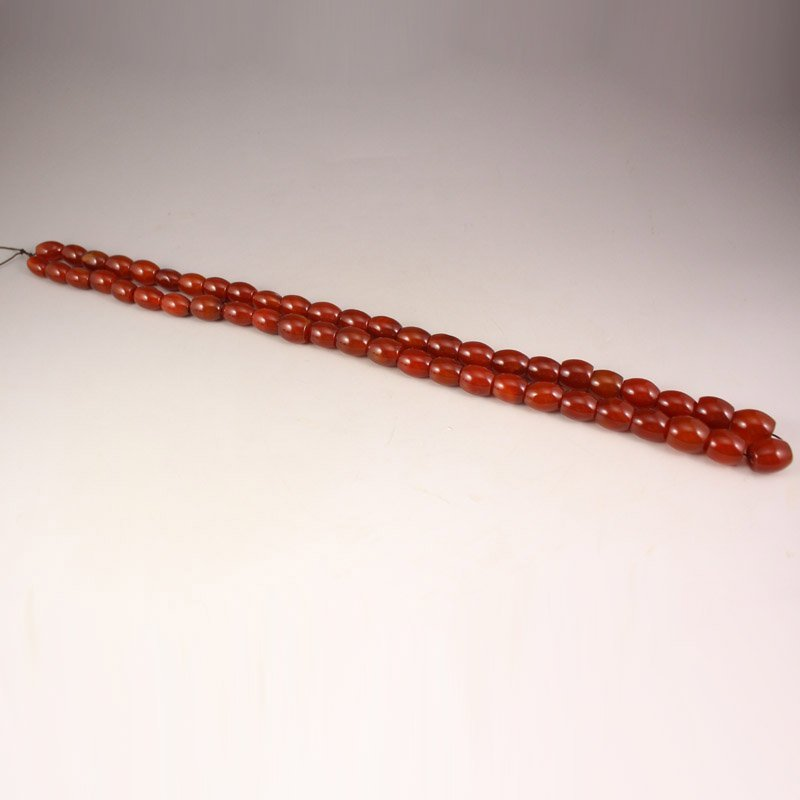 Vintage Chinese Red Agate Beads Necklace