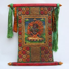 Vintage Tibet Zitan Wood Inlay Jade Tangka
