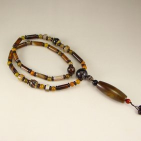 Vintage Chinese Tibet DZI Agate Beads Necklace