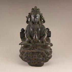 Vintage Chinese Bronze Statue - Kwan-yin