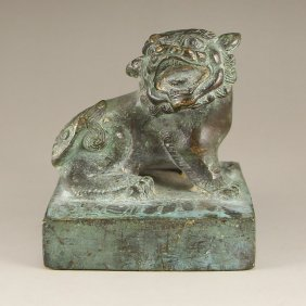 Chinese Qing Dynasty Bronze Foo Dog Seal