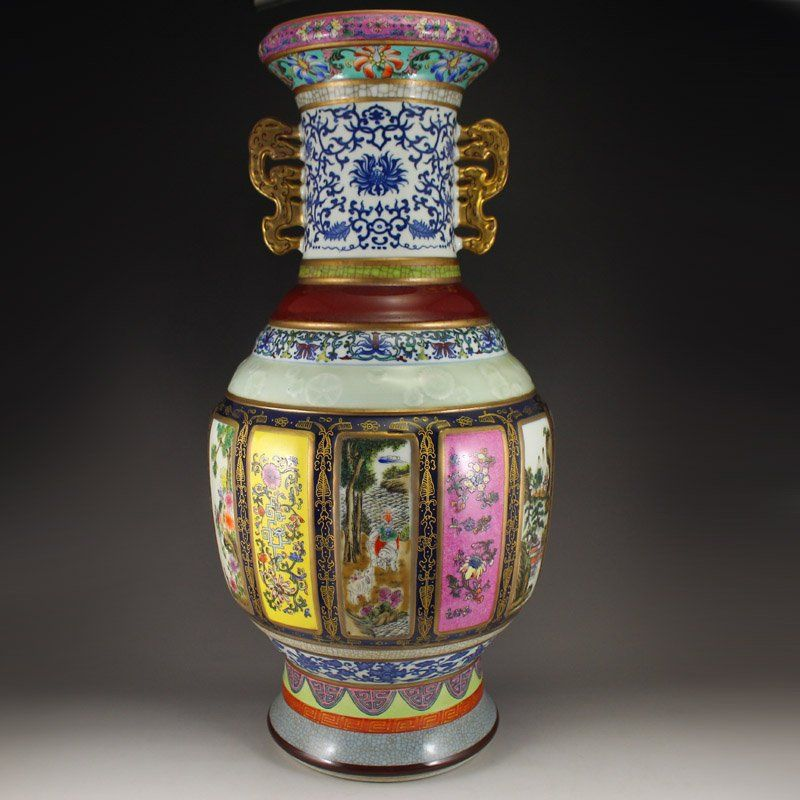 Chinese Qing Dy Gilt Gold Famille Rose Double Ears Vase