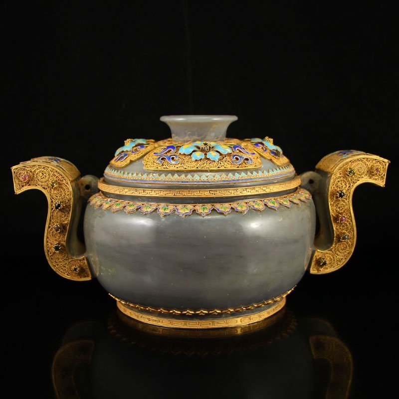 Chinese Hetian Jade Gold Wire Enamel Gem Incense Burner
