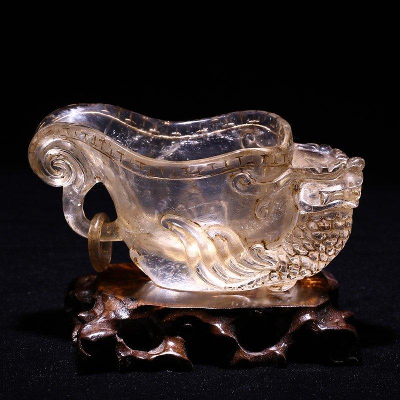 Chinese Han Dynasty Berg Crystal Dragon Head Cup