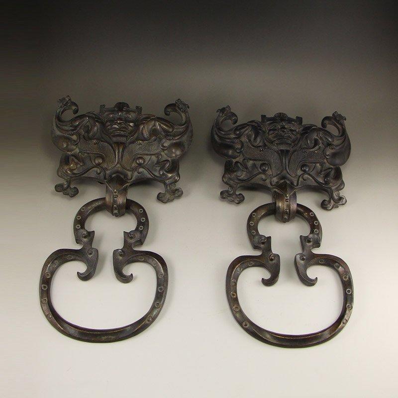 A Pair Vintage Chinese Bronze Knocker Gate