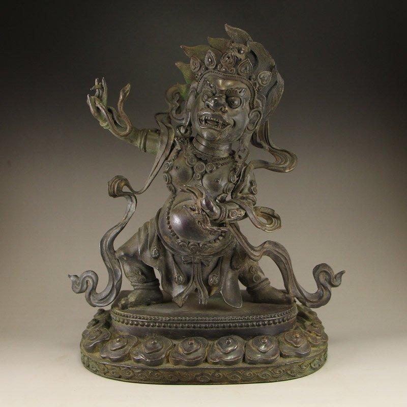 Vintage Tibeten Buddhist Bronze Mahakala Buddha Statue