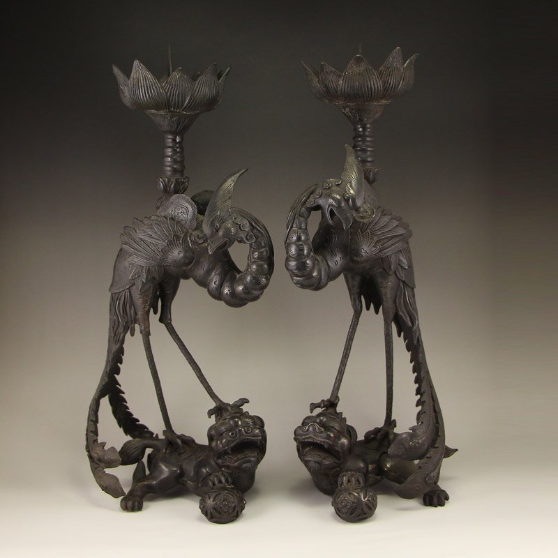 A Pair Chinese Qing Dy Bronze Phoenixes Candlesticks