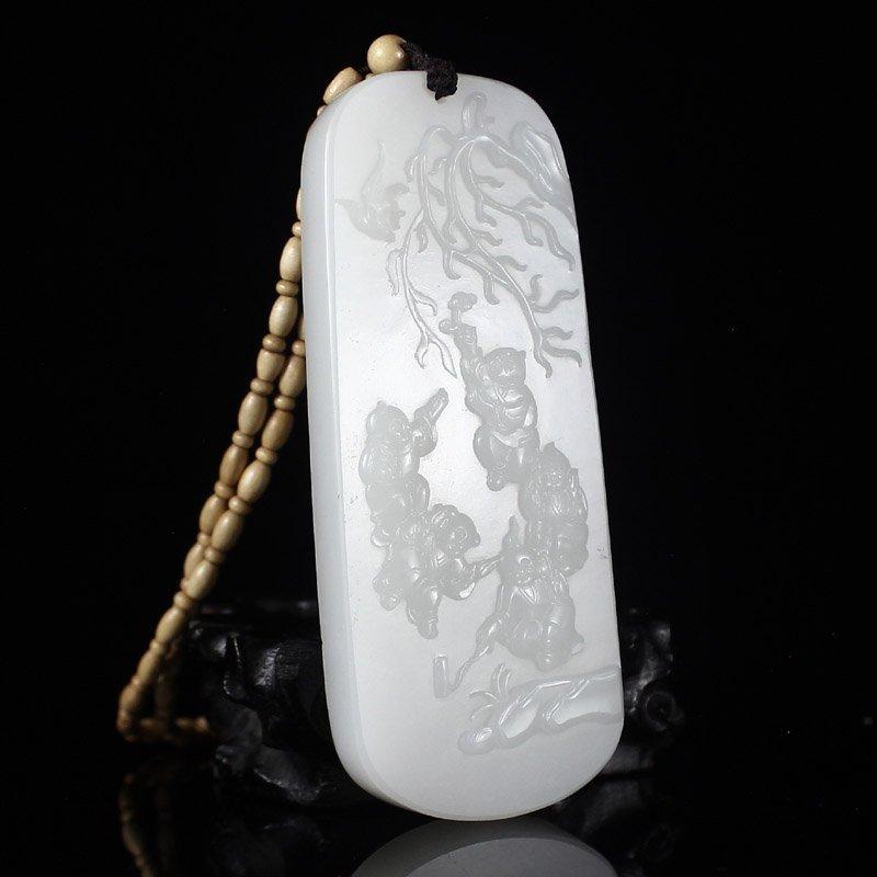 Superb Chinese White Hetian Jade Fortune Kids Pendant