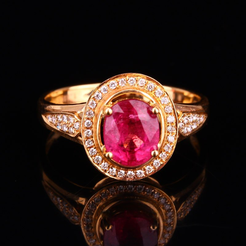 18K Solid Gold 1.25ct Ruby 0.139ct Natural Diamond Ring