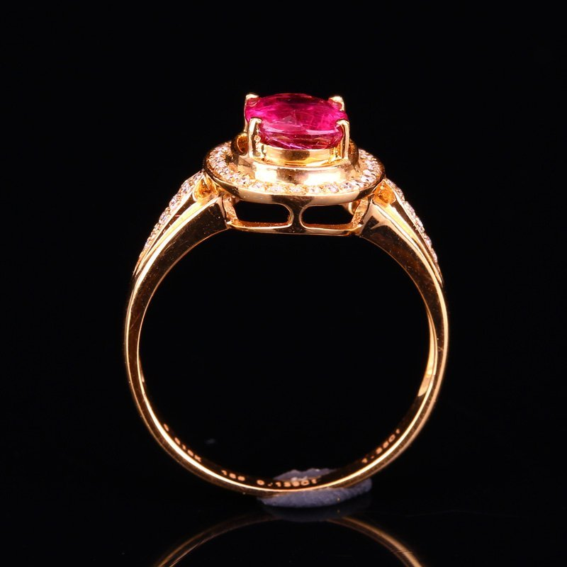 18K Solid Gold 1.25ct Ruby 0.139ct Natural Diamond Ring - 2