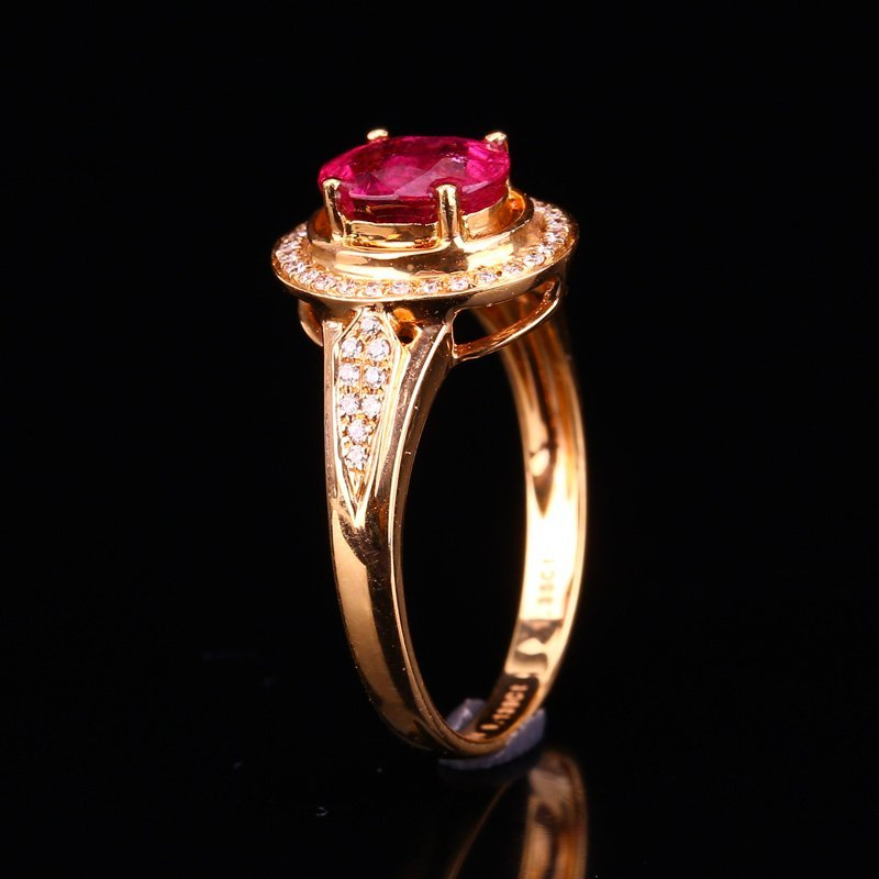 18K Solid Gold 1.25ct Ruby 0.139ct Natural Diamond Ring - 3