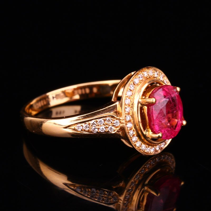 18K Solid Gold 1.25ct Ruby 0.139ct Natural Diamond Ring - 4