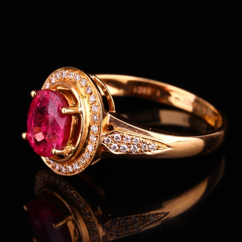 18K Solid Gold 1.25ct Ruby 0.139ct Natural Diamond Ring - 5