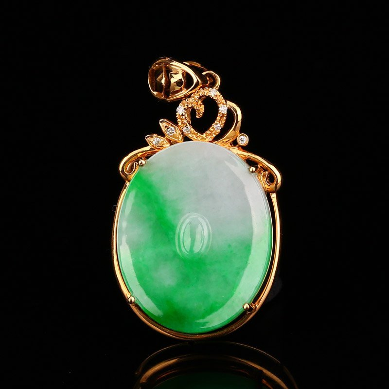 18K Solid Gold Inlay Jadeite Diamonds Lucky Pendant