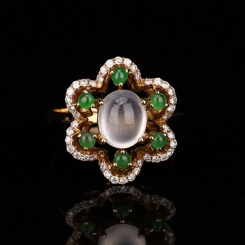 18K Solid Gold Cabochon Icy Jadeite Diamonds Ring