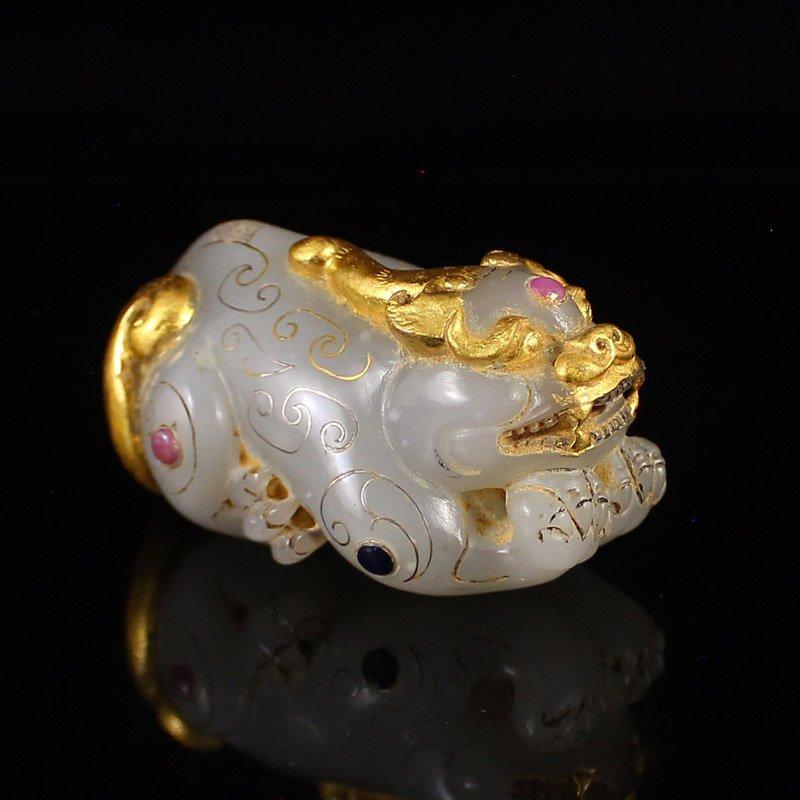 Vintage Gilt Gold Hetian Jade Fortune Pixiu Statue - 2
