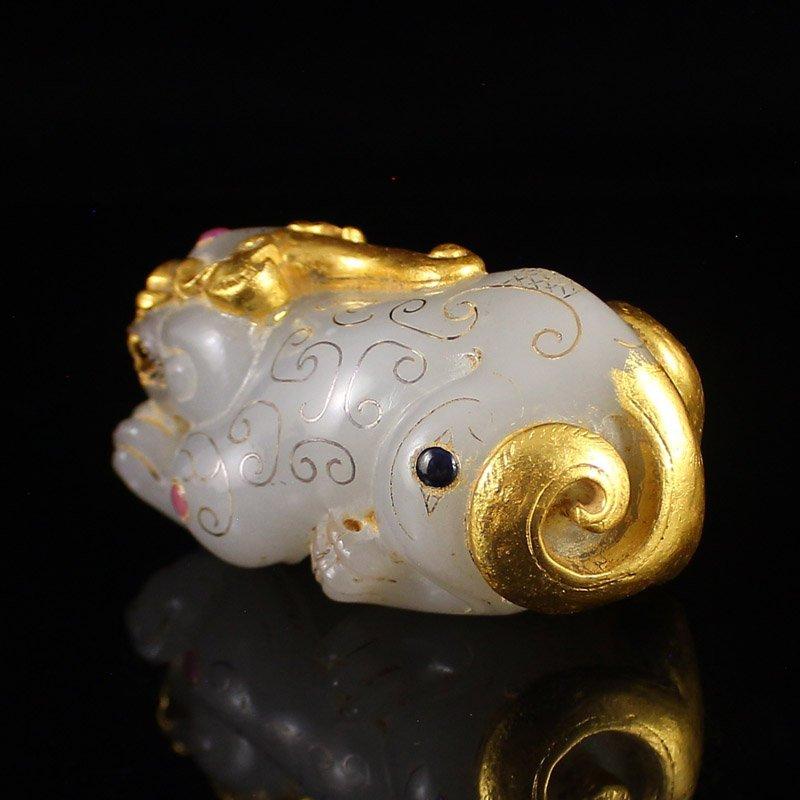 Vintage Gilt Gold Hetian Jade Fortune Pixiu Statue - 4