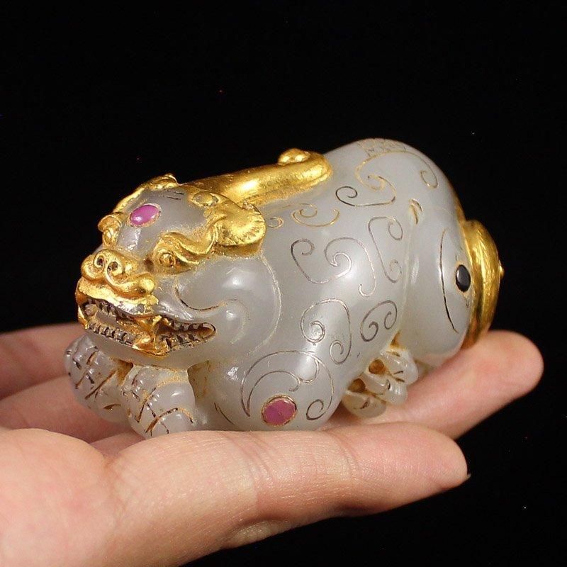 Vintage Gilt Gold Hetian Jade Fortune Pixiu Statue - 5