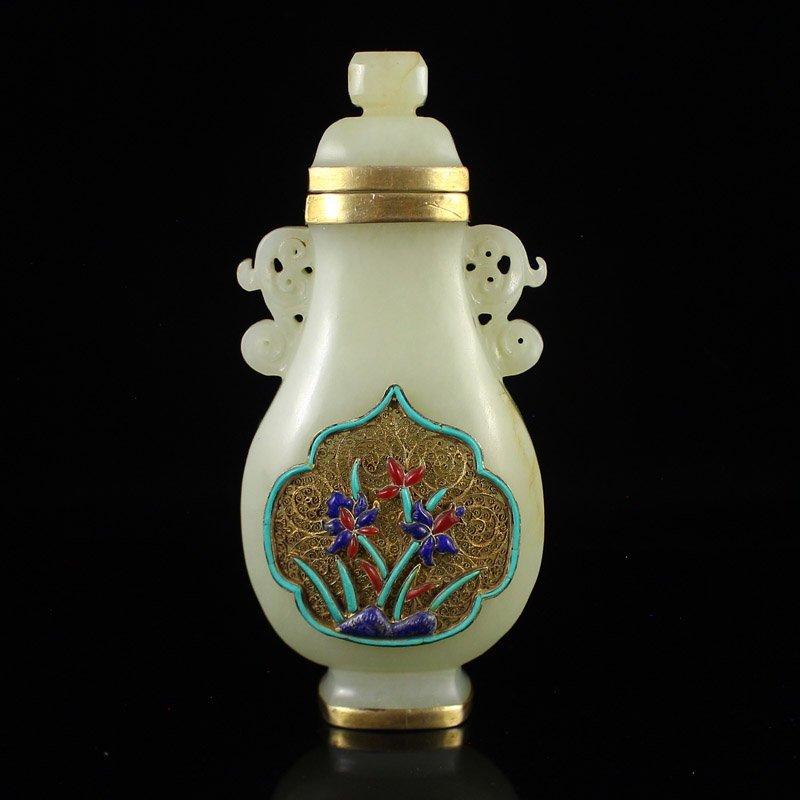 China Gilt Gold Hetian Jade Inlay Gold Wire & Gems Vase