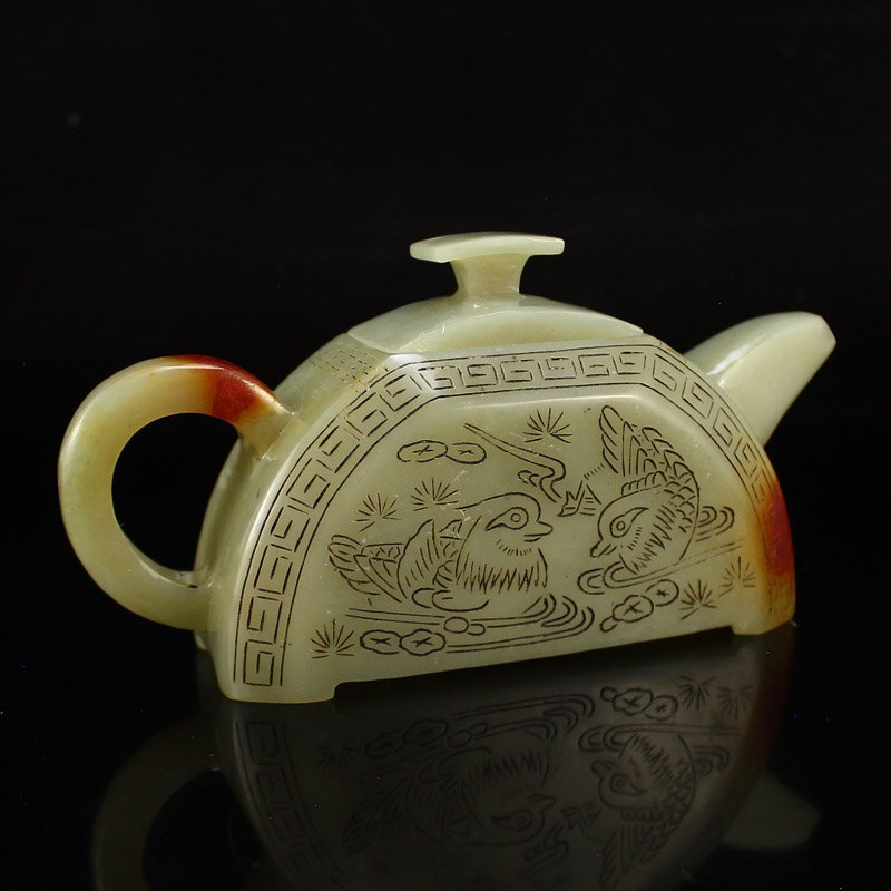 A Set Chinese Hetian Jade Poetic Prose Teapot & Cups - 3