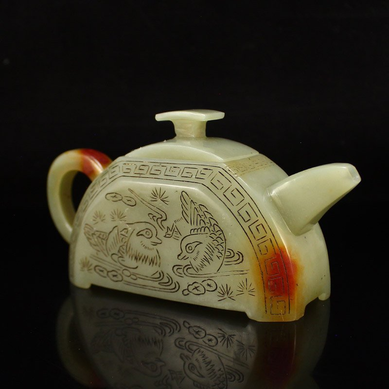 A Set Chinese Hetian Jade Poetic Prose Teapot & Cups - 4