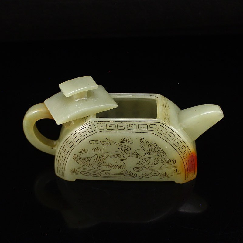 A Set Chinese Hetian Jade Poetic Prose Teapot & Cups - 5