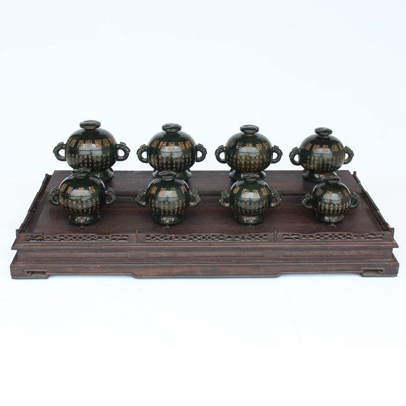 A Set Eight Hetian Jade Poetic Prose Incense Burner