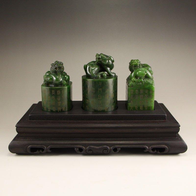 Chinese Qing Dy Green Hetian Jade Chi Dragons Seals
