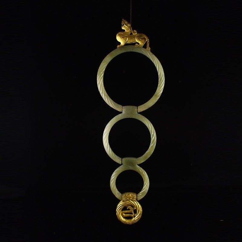Chinese Gilt Gold Hetian Jade Fortune Pixiu Pendant