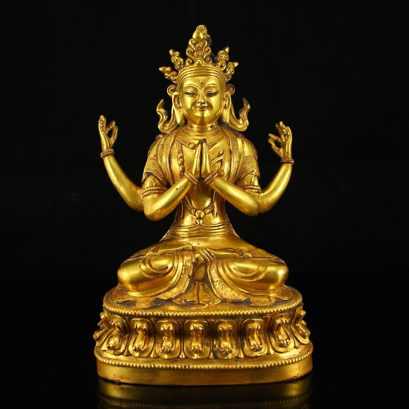 Chinese Gilt Gold Bronze Four Arms Kwan-yin Statue