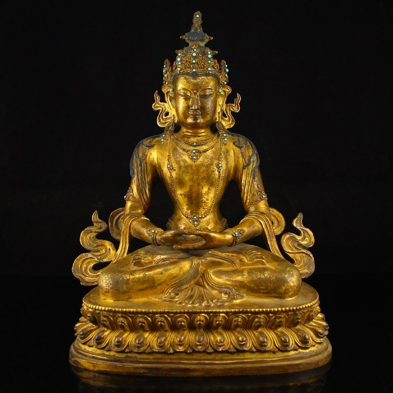 Vintage Tibet Gilt Gold Red Copper Kwan-yin Statue