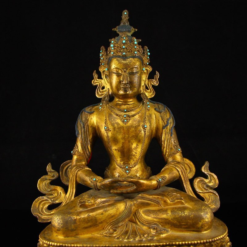 Vintage Tibet Gilt Gold Red Copper Kwan-yin Statue - 2