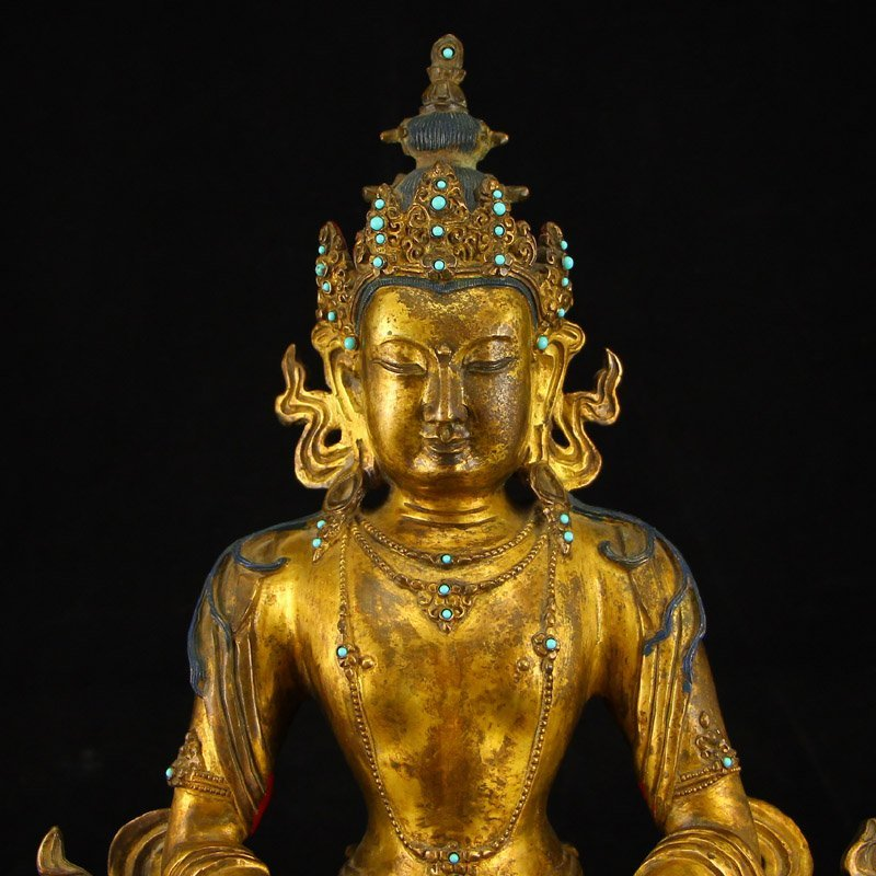 Vintage Tibet Gilt Gold Red Copper Kwan-yin Statue - 3