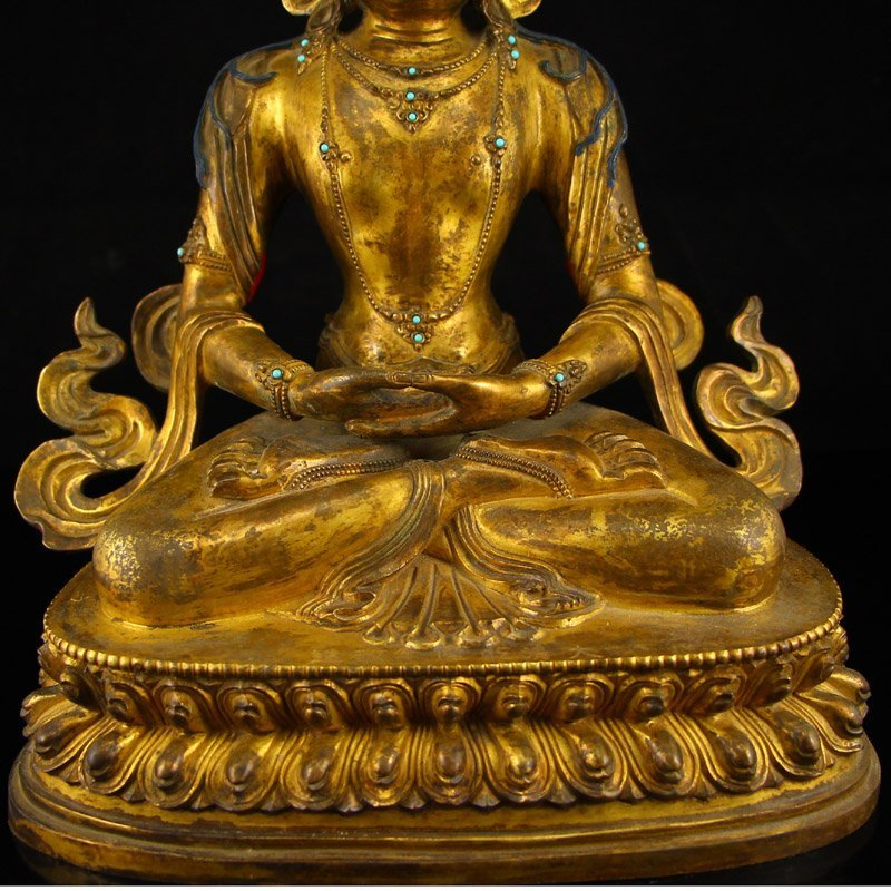 Vintage Tibet Gilt Gold Red Copper Kwan-yin Statue - 4