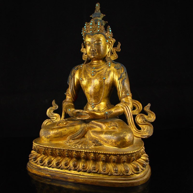 Vintage Tibet Gilt Gold Red Copper Kwan-yin Statue - 6