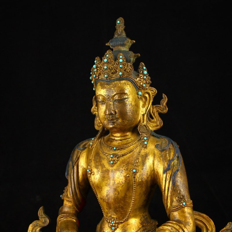 Vintage Tibet Gilt Gold Red Copper Kwan-yin Statue - 7